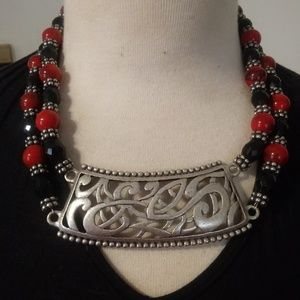 Chicos Red Black Sliver Beaded Necklace